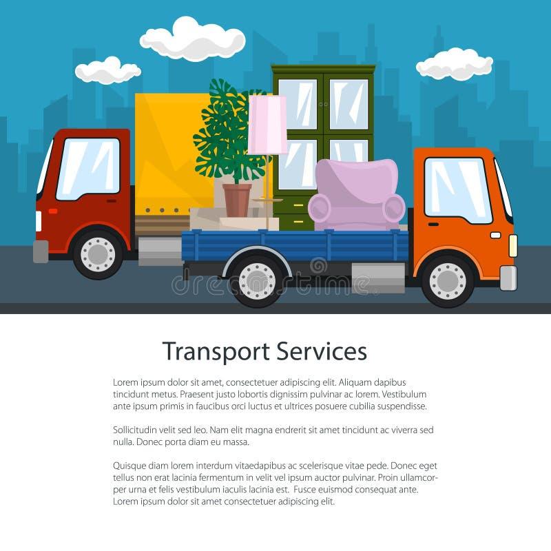 小卡车和卡车有家具的,小册子 向量例证