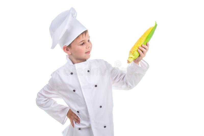 小厨师看明亮的黄色新鲜的玉米,隔绝在白色背景 库存图片