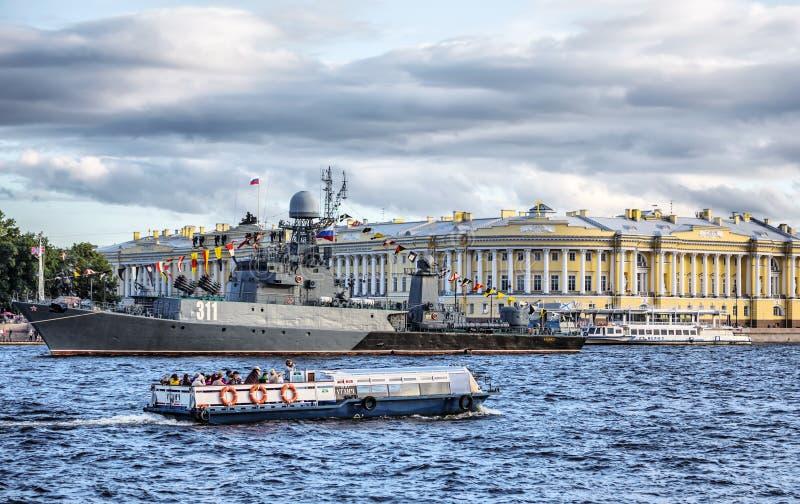 小反潜艇船Kazanetz,圣彼德堡,俄罗斯 库存照片
