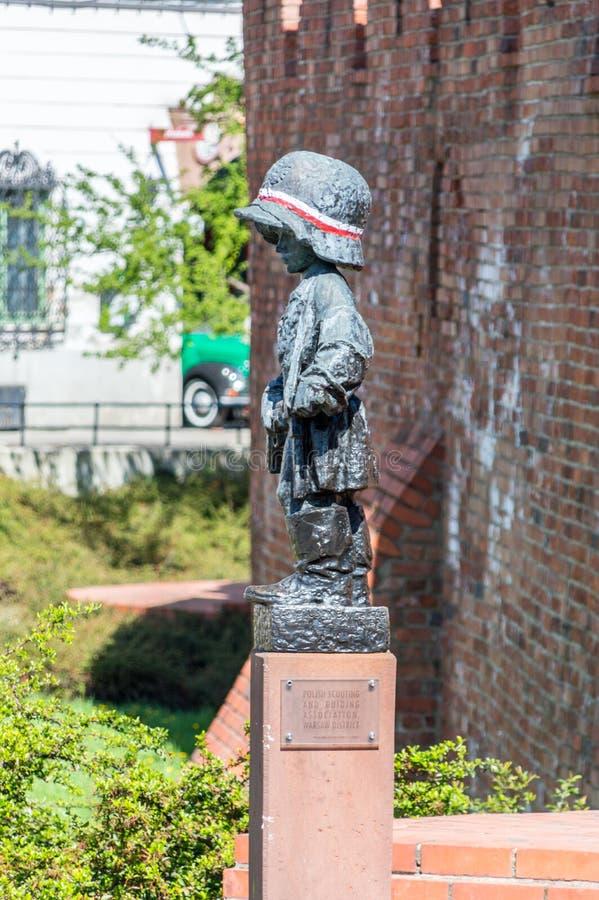 小叛乱者的纪念碑记念华沙起义的儿童战士的 免版税库存照片