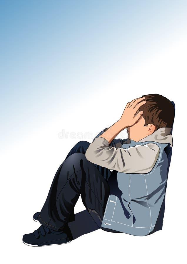 小哀伤的孩子坐街道 皇族释放例证