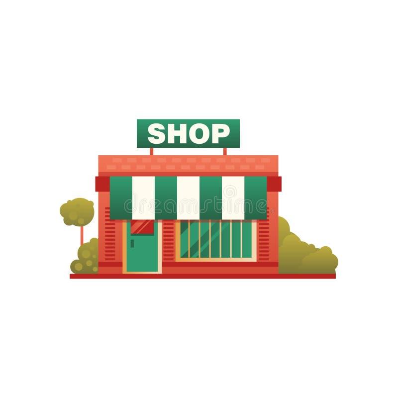 小商店城市公共建筑,正面图在白色背景的传染媒介例证 向量例证