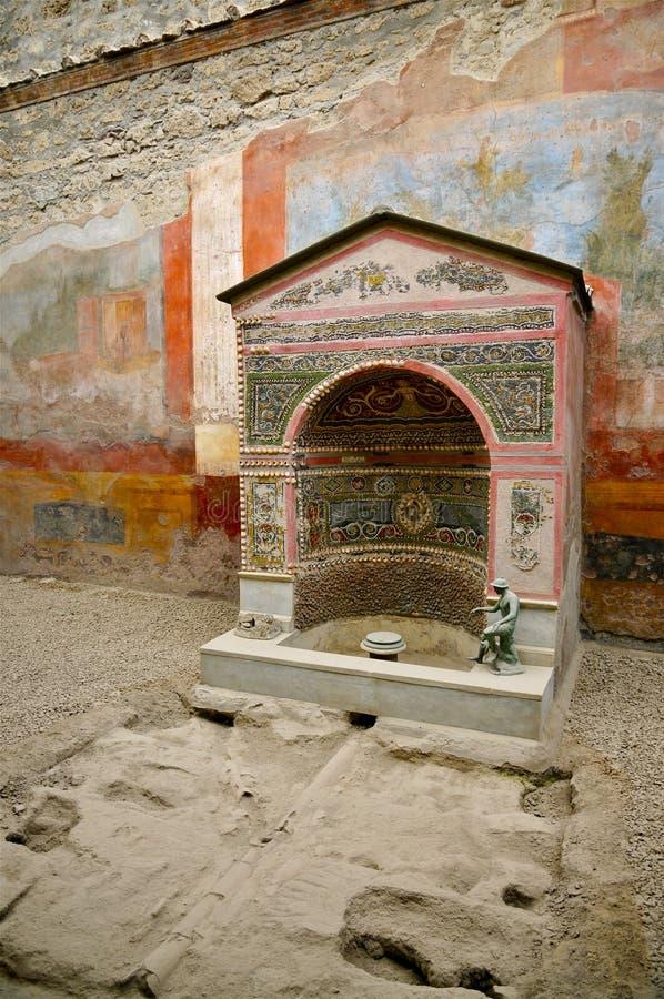 小喷泉庞贝城,意大利的议院 库存照片