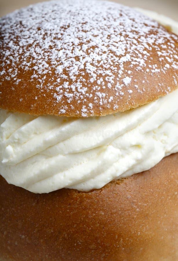 小圆面包奶油色semla 库存图片