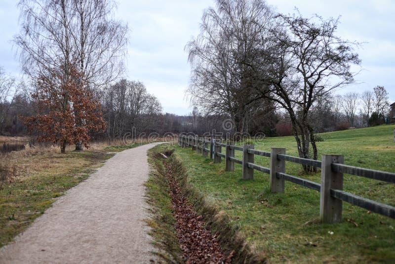 小型乡村步行、远足旅游路径,位于拉脱维亚市Kuldīga 库存图片