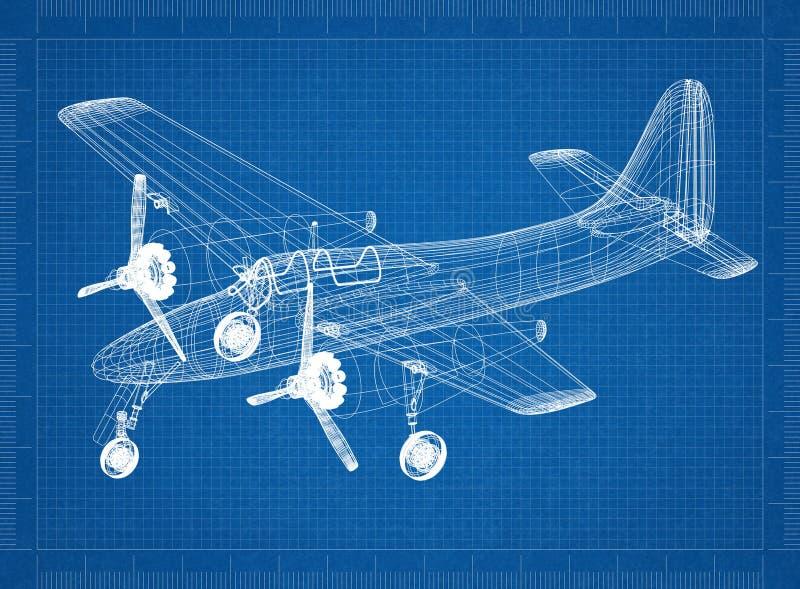 小型飞机建筑师图纸 向量例证