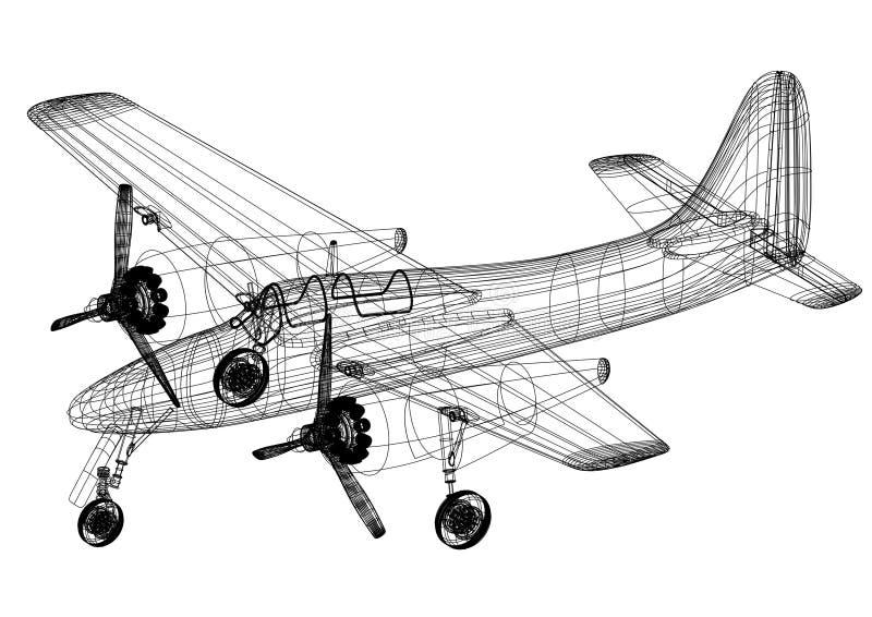 小型飞机-被隔绝的建筑师图纸 皇族释放例证
