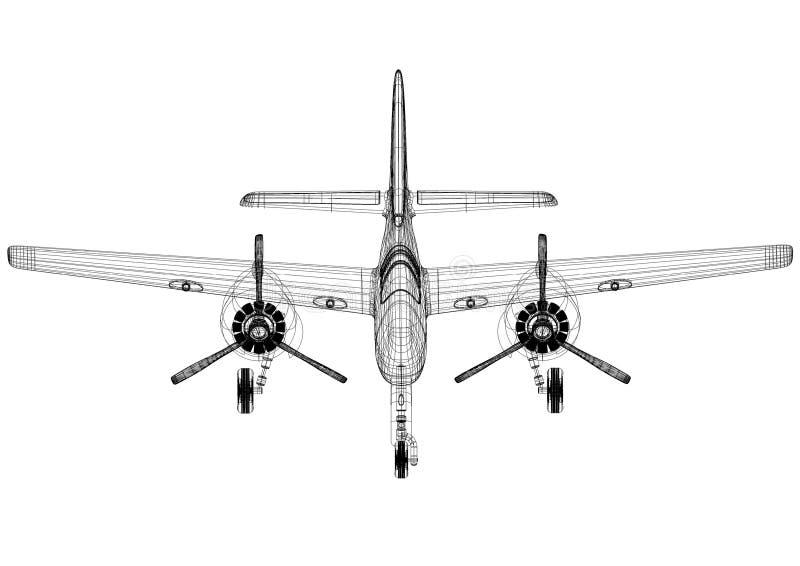 小型飞机-被隔绝的建筑师图纸 库存例证
