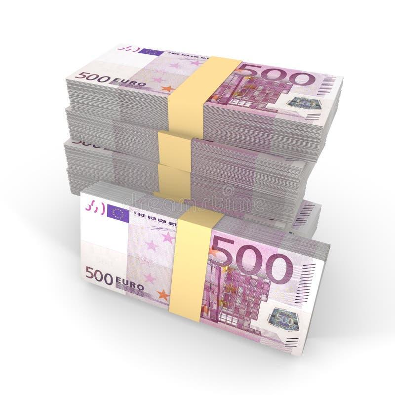 小堆在白色的500张欧洲钞票 皇族释放例证