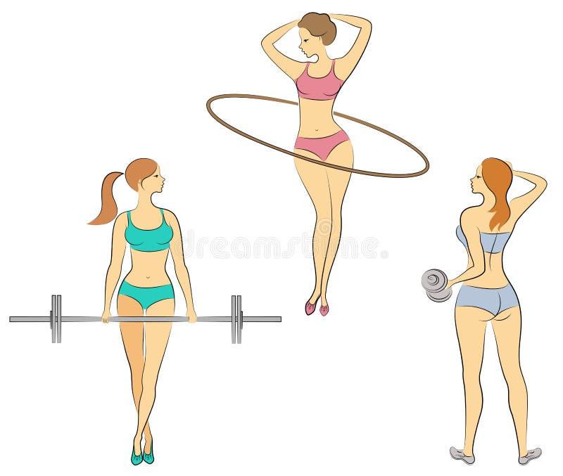 ?? 小夫人 女孩参与健身,提高标准, 扭转圈子 妇女是年轻和苗条的,与a 库存例证