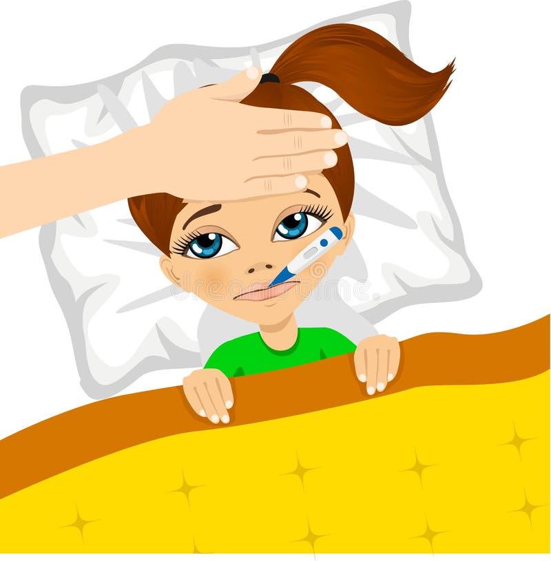 小女孩不适在与温度计的床上在嘴 向量例证