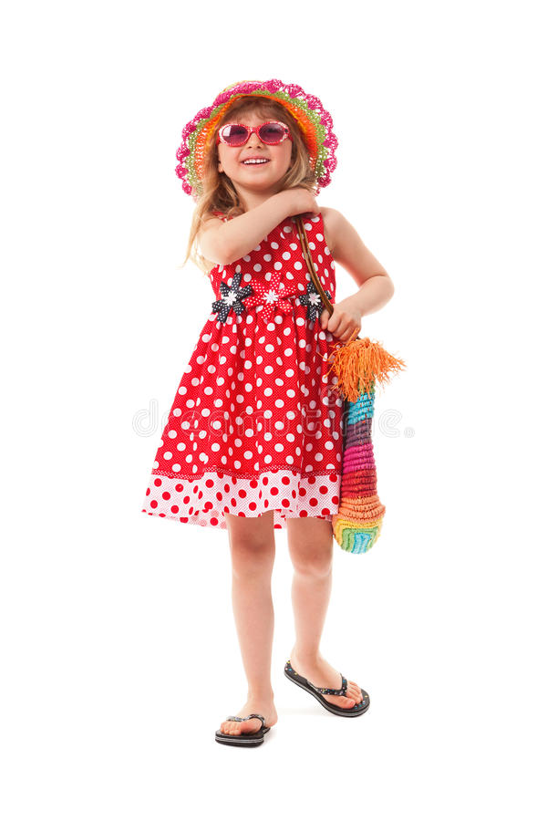 小女孩为夏天步行打扮了 免版税库存图片
