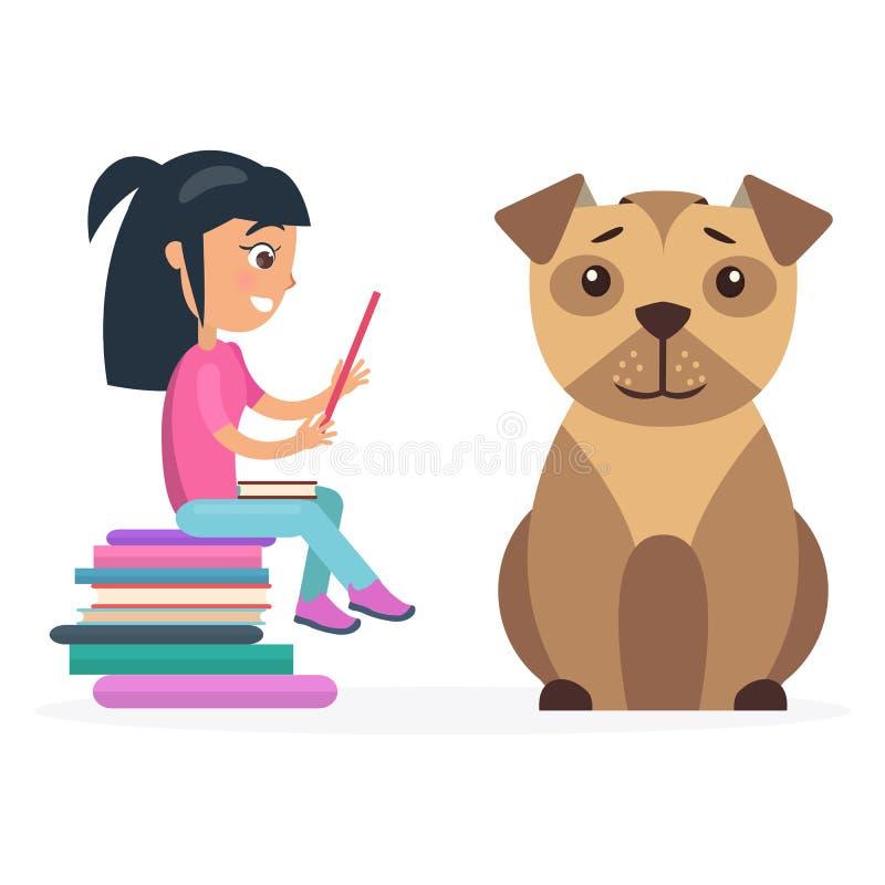 小女孩从在巨大的狗旁边的片剂读 库存例证
