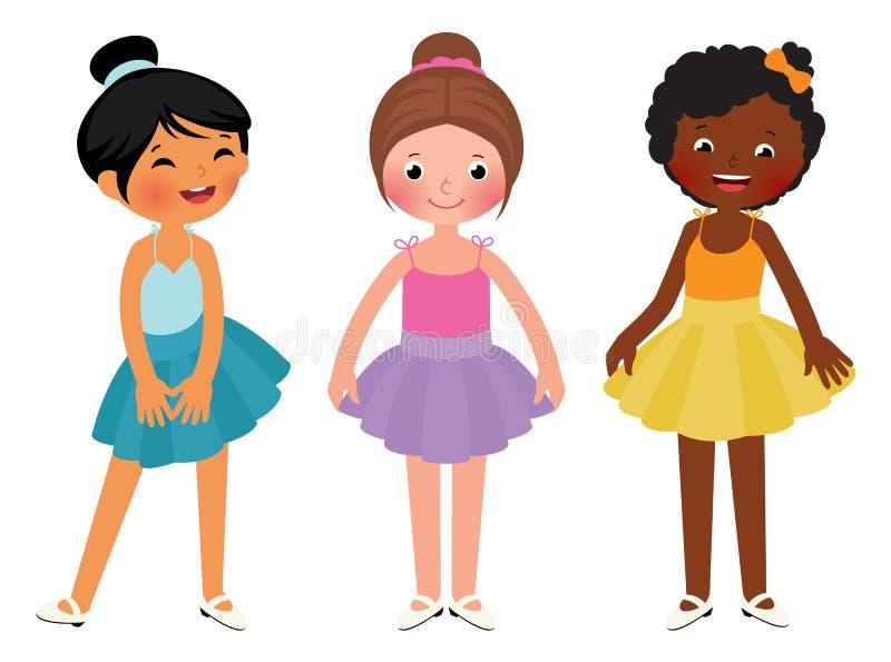 小女孩另外种族舞蹈家 库存例证