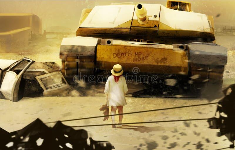小女孩和坦克 向量例证