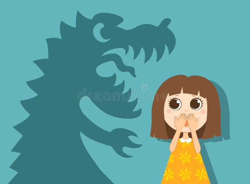 小女孩和她的恐惧 皇族释放例证