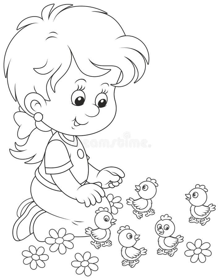 小女孩和小鸡 向量例证