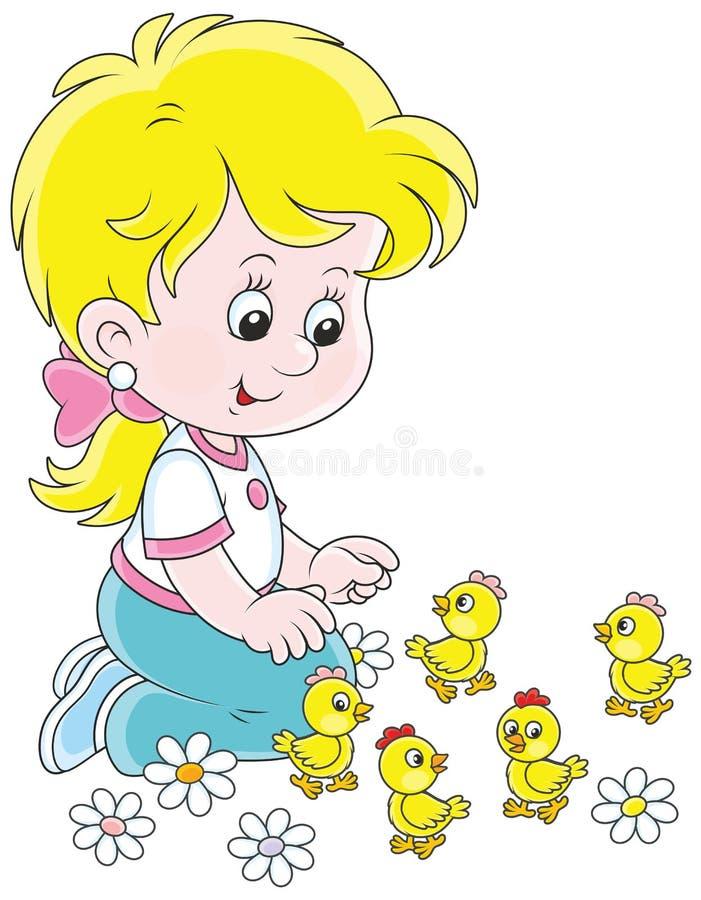 小女孩和小鸡 库存例证