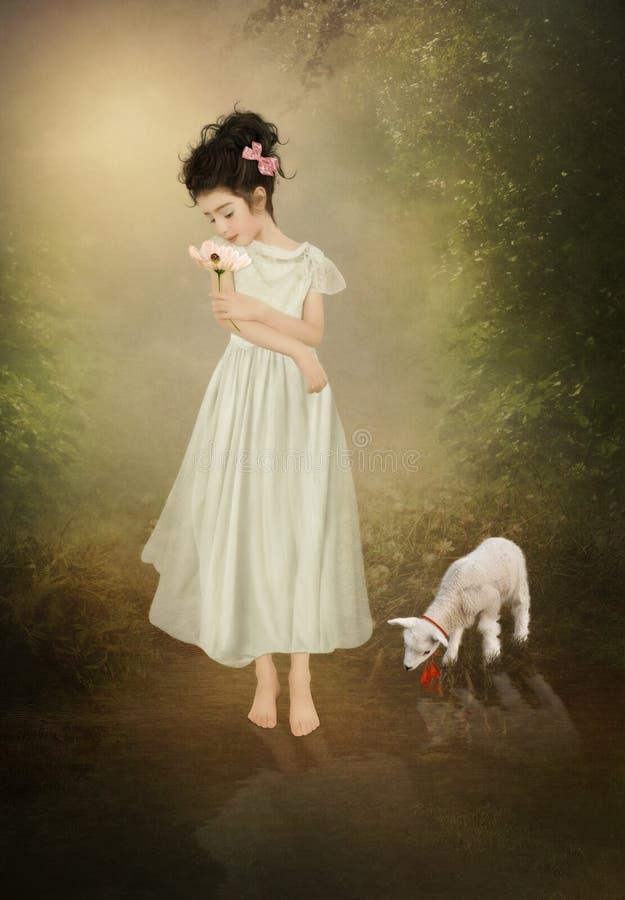 小女孩和羊羔 免版税库存图片