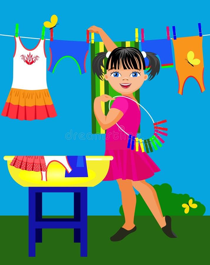 小女孩和婴孩衣物 向量例证