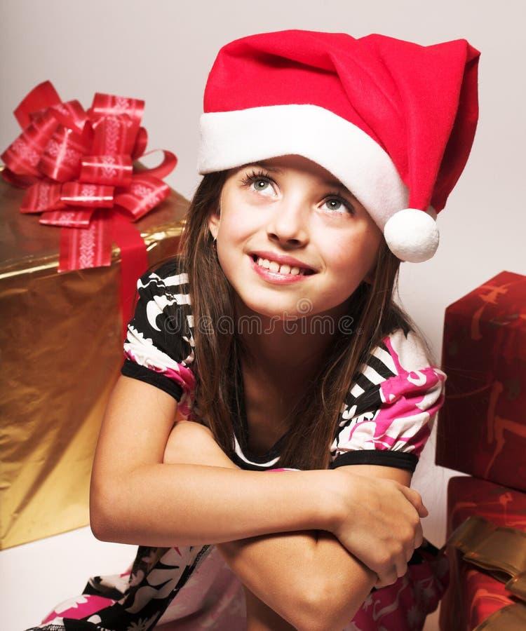小女孩和xmas存在 库存照片