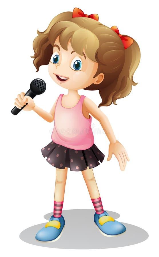 小女孩唱歌歌曲 向量例证