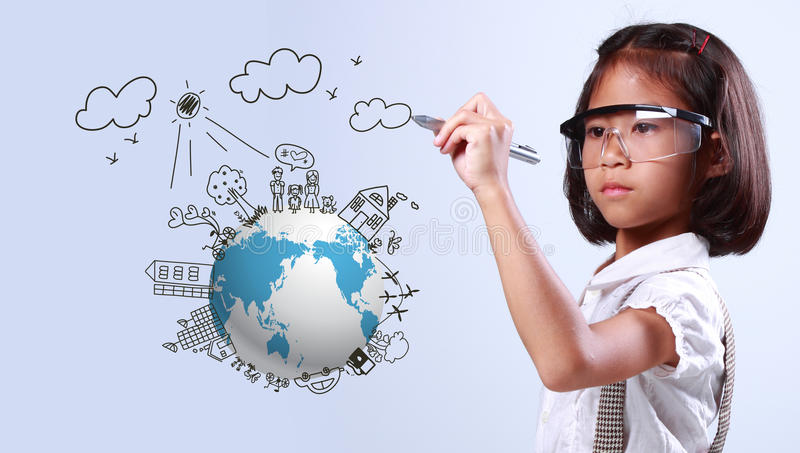 小女孩图画地球生态 免版税图库摄影
