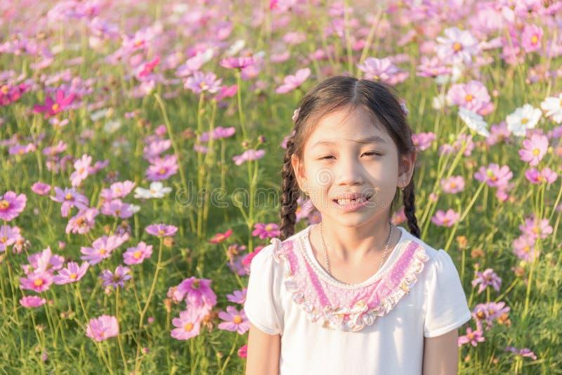 小女孩在桃红色波斯菊花波斯菊领域Bipin 库存照片