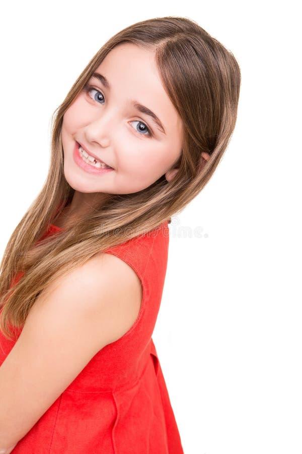 小女孩在演播室 免版税库存照片