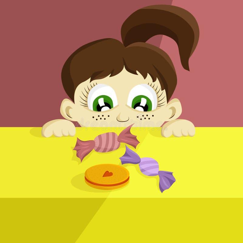小女孩在甜点和曲奇饼看 皇族释放例证