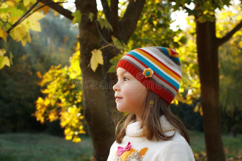 小女孩在秋天公园 库存图片