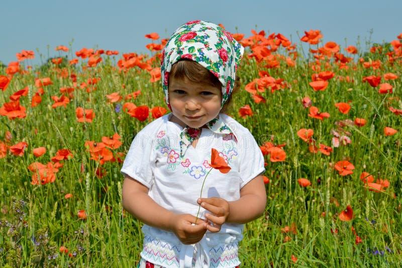 小女孩在鸦片领域保留红色鸦片 免版税图库摄影