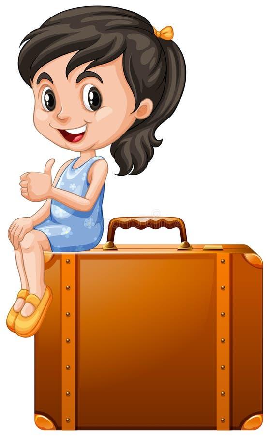 小女孩坐手提箱 向量例证