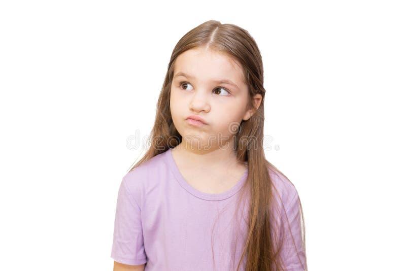 小女孩对于 在白色背景上孤立 库存照片