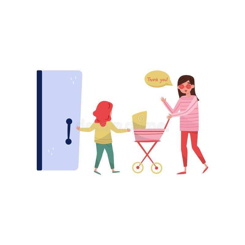 小女孩对有婴儿车的年轻妈妈打开门 与有礼貌的孩子 礼貌题材 平的传染媒介设计 库存例证