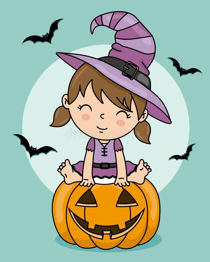 小女孩打扮作为巫婆 皇族释放例证