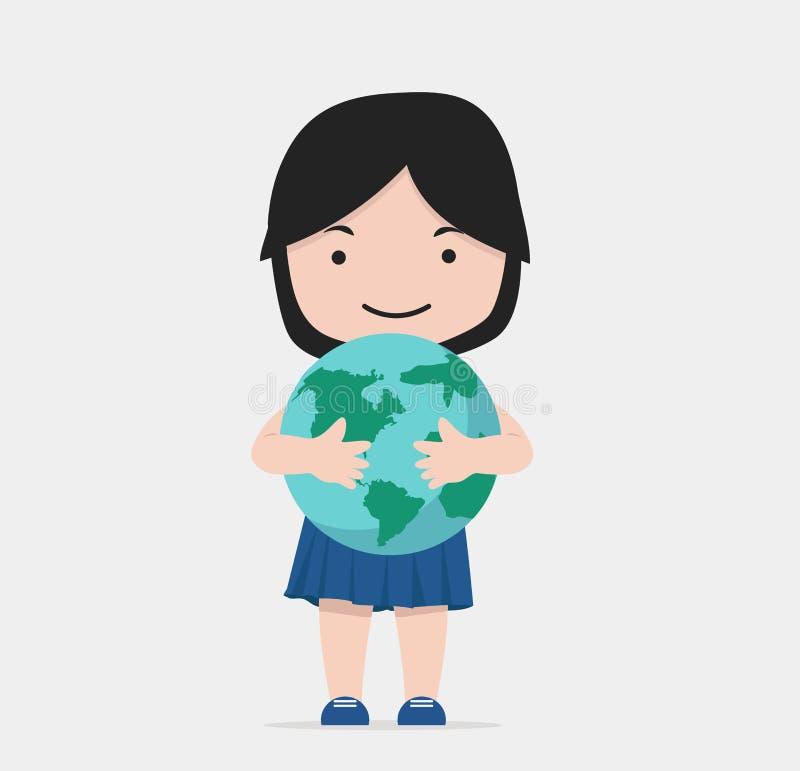 小女孩拥抱地球 向量例证