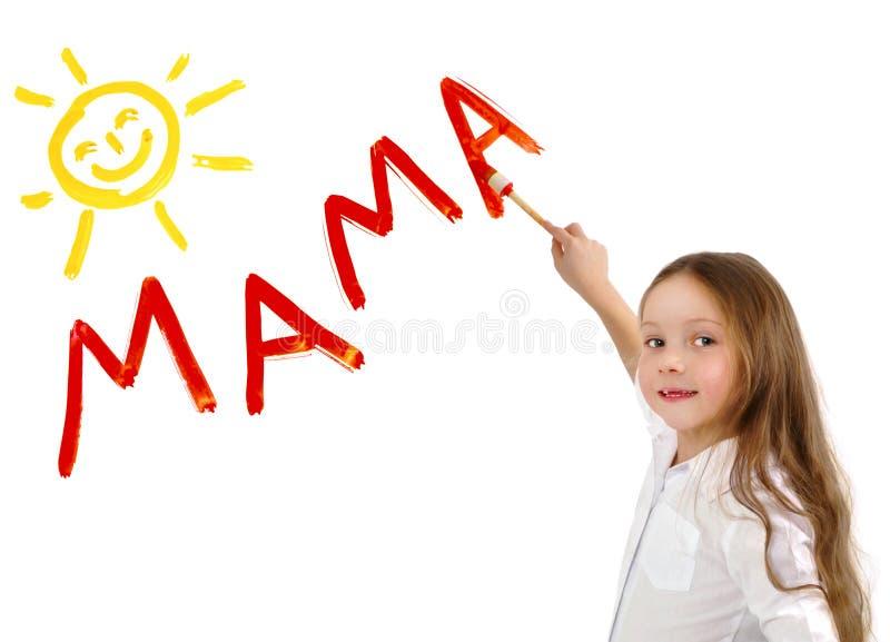 小女孩文字词妈妈 免版税库存图片