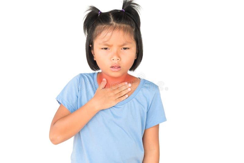 小女孩有病残是在白色的喉咙痛孤立 库存照片
