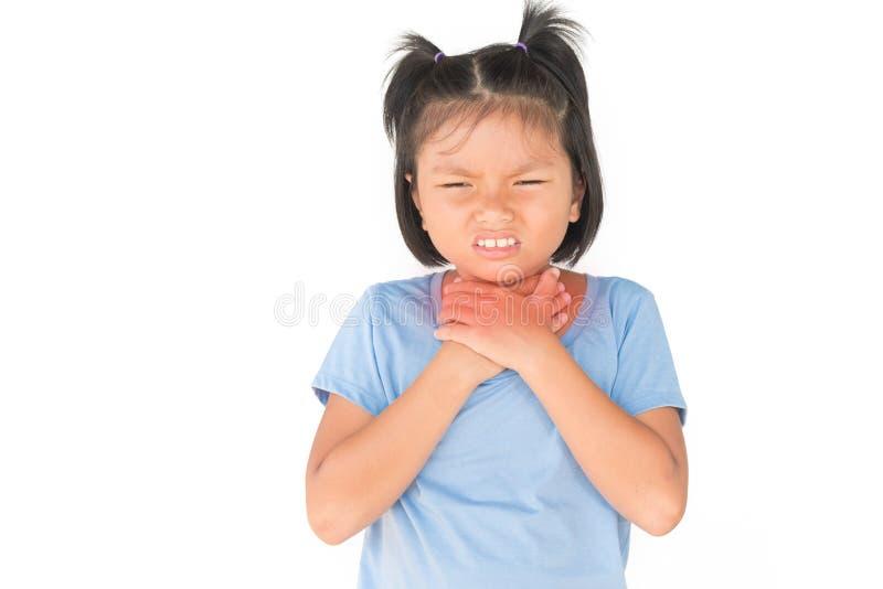 小女孩有病残是在白色的喉咙痛孤立 图库摄影