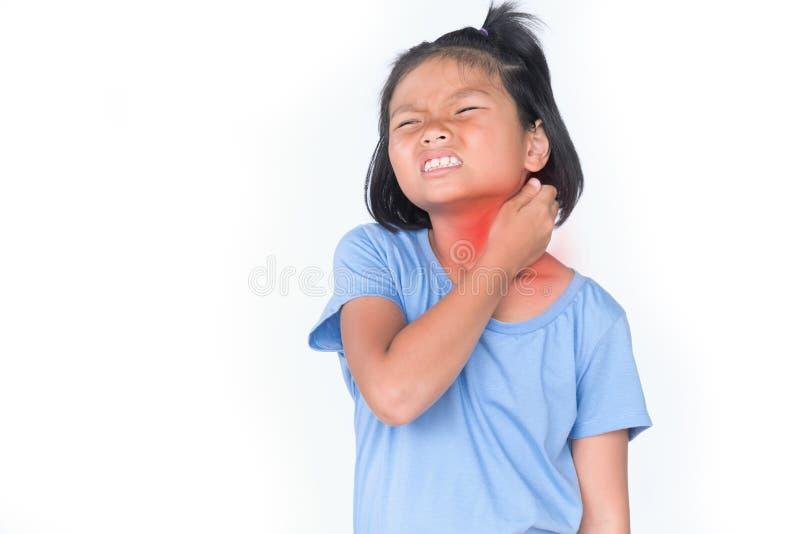 小女孩有病残是在白色的喉咙痛孤立 库存图片