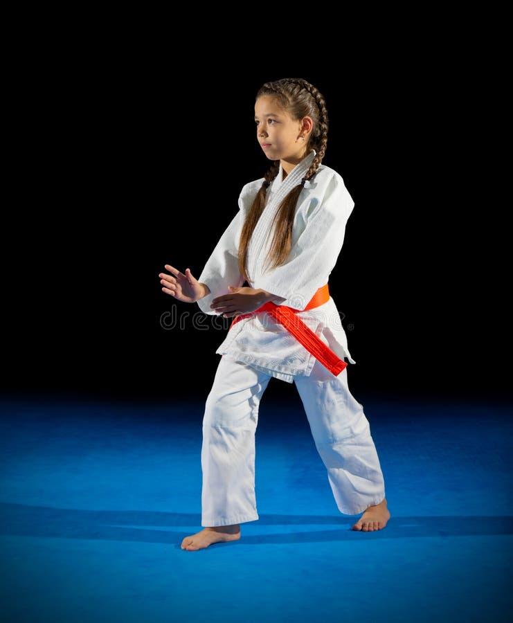 小女孩武术战斗机 库存图片