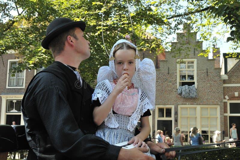 小女孩用冰淇凌 费勒,荷兰 免版税库存照片