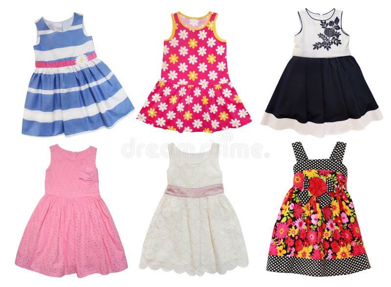小女孩的夏天礼服 免版税图库摄影
