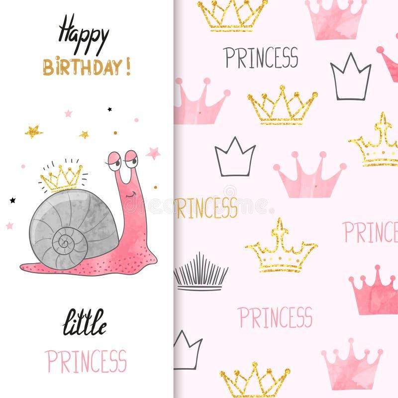 小女孩的生日贺卡设计有逗人喜爱的小的公主蜗牛的 皇族释放例证