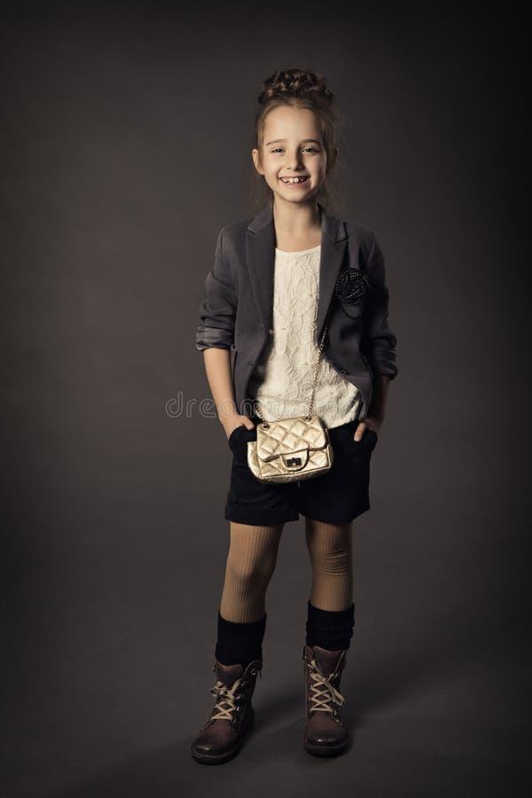 小女孩秀丽时尚画象,微笑的孩子我 图库摄影