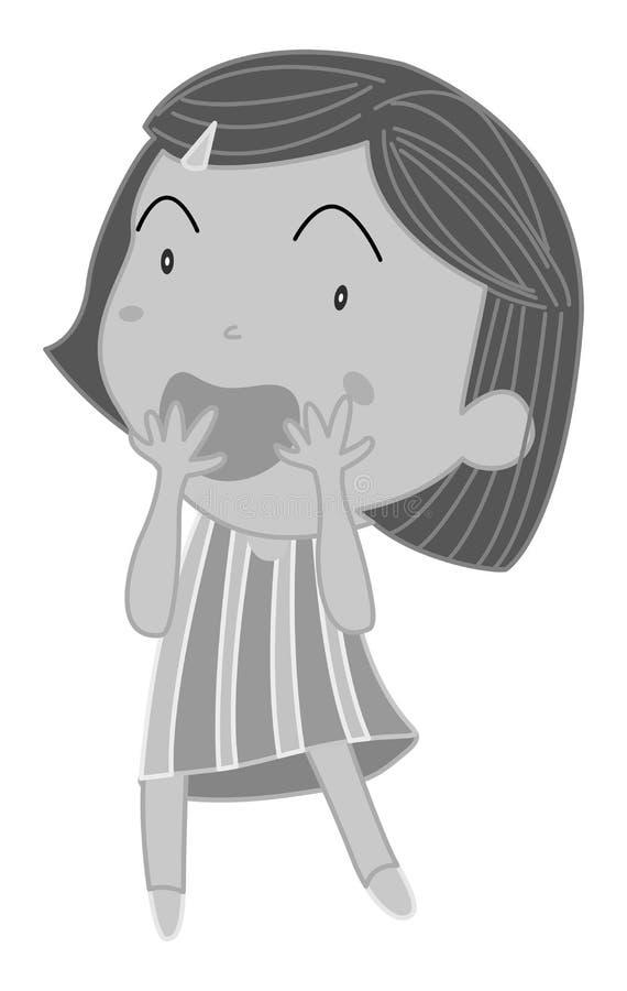 小女孩覆盖物嘴用两只手 库存例证