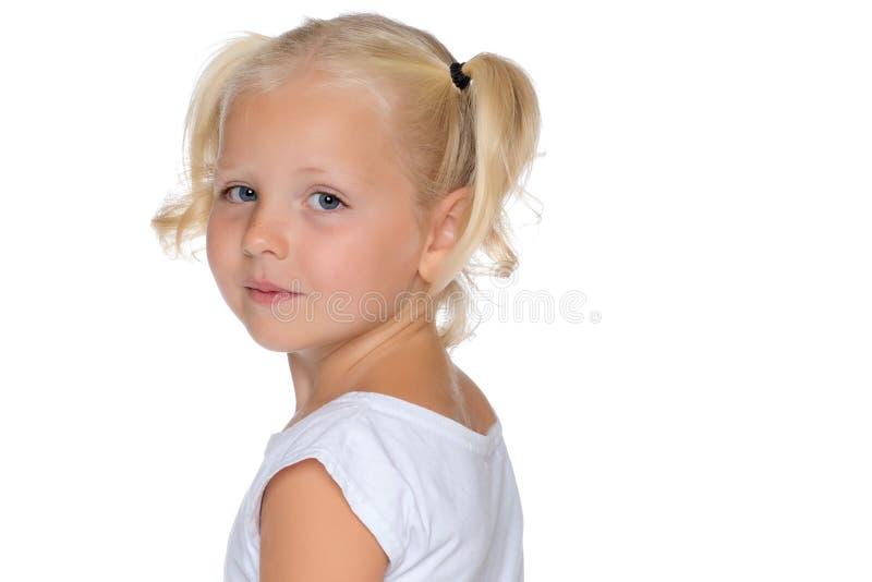 小女孩认为 免版税库存照片
