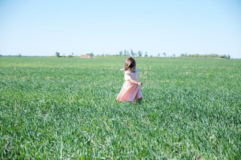 小女孩跑在绿草的领域的在夏天,愉快的微笑的孩子 图库摄影