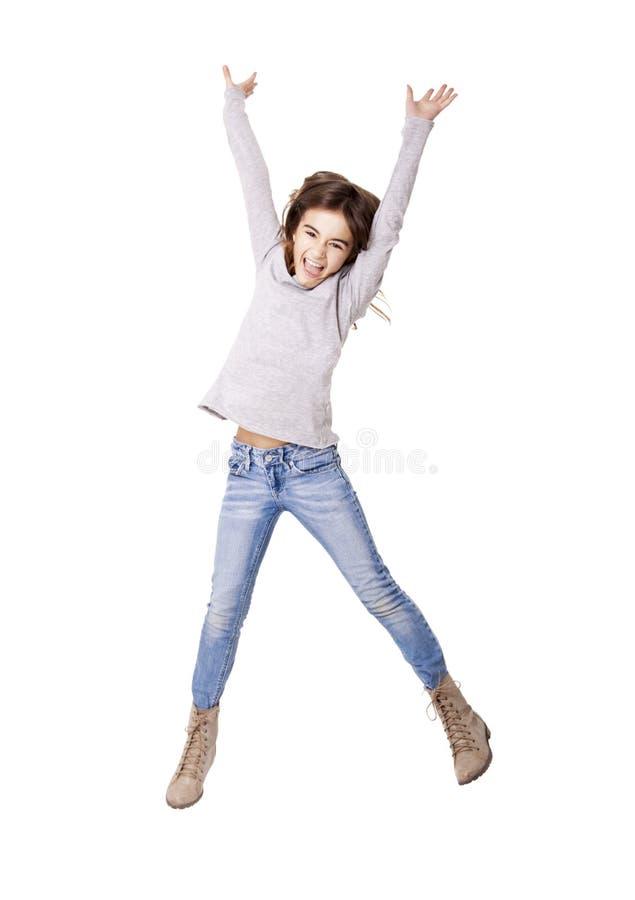 小女孩跳跃 库存图片